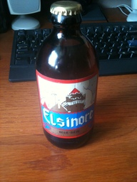 Bottle of                   Elsinore beer